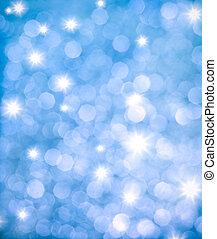abstrakt, hintergrund, von, blaues, glitzern, lichter