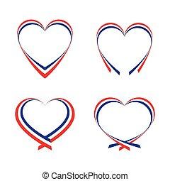 abstrakt, hjärtan, flagga, färger, fransk