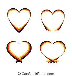 abstrakt, hjärtan, flagga, tysk, färger