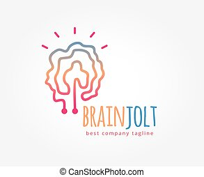 abstrakt, hjerne, vektor, logo, ikon, concept., logotype, skabelon, by, branding