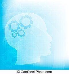abstrakt, huvud, bakgrund, utrustar, hjärna, vektor