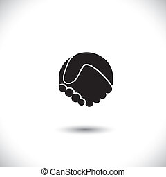 abstrakt, -, ikone, vektorgrafik, schütteln, hand, begriff, silhouette