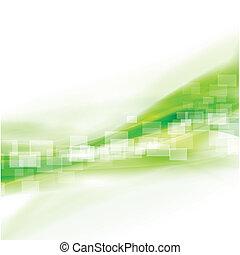 abstrakt, illustration, slät, vektor, flöde, grön fond