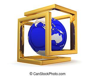 abstrakt, image., glob, och, oändlighets symbol