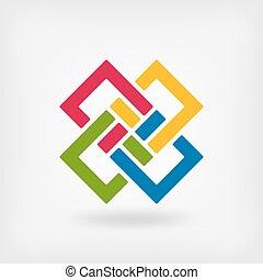 abstrakt, ineinandergreifen, quadrate