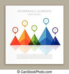 abstrakt, infographic, färgrik, mall