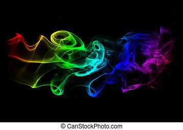 abstrakt, isolerat, och, färgad, röka, bakgrund, -,...
