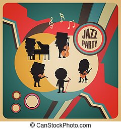 abstrakt, jazz- band, plakat