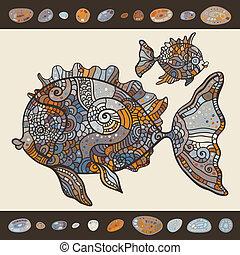 abstrakt, karikatur, meer, fish.