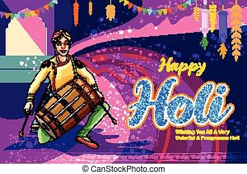 abstrakt, karte, glücklich, grüße, farbe, fest, holi, bunte, indien, design, feier, hintergrund