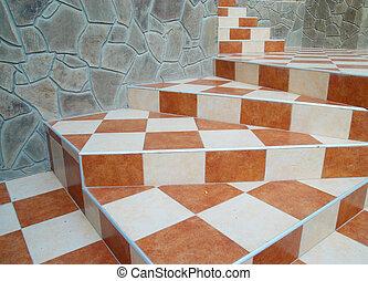 abstrakt, keramisk, trappa, tiles.