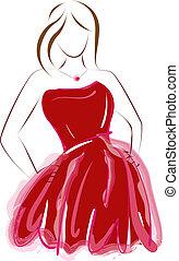 abstrakt, klänning, flicka, röd