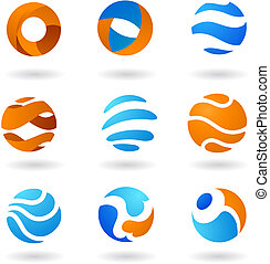 abstrakt, klot, ikonen