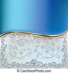 abstrakt, knäckt, blå, blommig, prydnad, på, a, vit fond