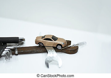abstrakt, komposition, i, brudt, automobilen