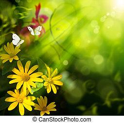 abstrakt konst, sommar, bakgrund., blomma, och, fjäril