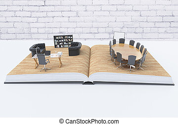 abstrakt, kontor interior, på, bog