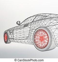abstrakt, kreativ, begriff, vektor, hintergrund, von, 3d, auto, model., sport, auto.