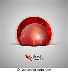 abstrakt, kugel, rotes