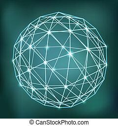 abstrakt, kugelförmig, glühen, punkte, geometrisch, zusammensetzung