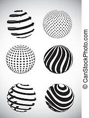 abstrakt, kugelförmig
