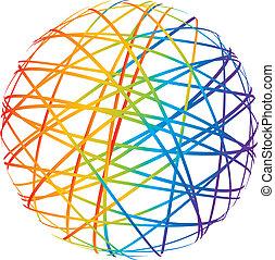 abstrakt, kugelförmig, von, farbe, linien
