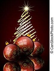 abstrakt, kugeln, baum reflexion, weihnachten