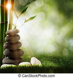 abstrakt, kurort, bakgrunder, med, bambu, och, kiselsten