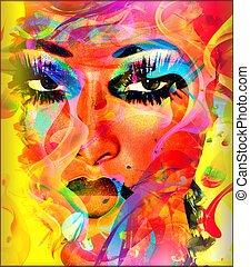 abstrakt, kvinna, färgrik, ansikte