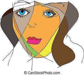 abstrakt, kvinna uppsyn