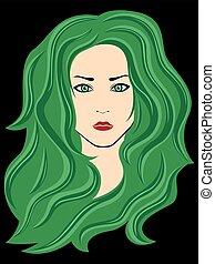abstrakt, kvinnlig, med, grönt hår