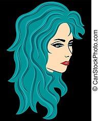 abstrakt, kvinnlig, med, turkos, hår, över, svart