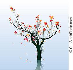 abstrakt, lönn träd