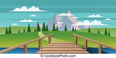 abstrakt landskab, hos, en, flod, wo