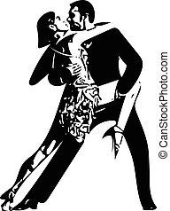 abstrakt, latino, par, illustration, dansande