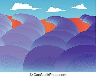 abstrakt, -, lavander, vektor, landskap, fält, slilaize