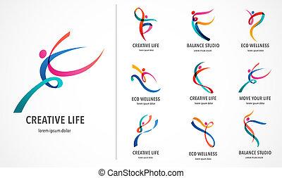 abstrakt, leute, logo, design., turnhalle, fitness, rennender , trainer, vektor, bunte, logo., aktive, fitness, sport, tanz, web, ikone, und, symbol