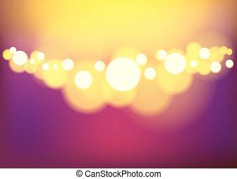 abstrakt, lights., bokeh, bakgrund, defocused, natt