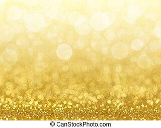 abstrakt, lights., bokeh, guld