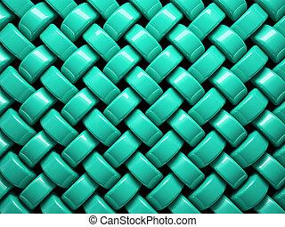 abstrakt, mønster, i, turquoise, flette, stykker