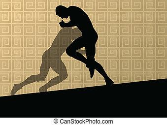 abstrakt, maenner, ringen, römisches , abbildung, griechischer , silhouetten, vektor, hintergrund, aktive, sport