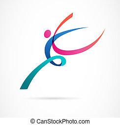 abstrakt, menschliche figur, logo, design., turnhalle, fitness, rennender , trainer, vektor, bunte, logo., aktive, fitness, sport, tanz, web, ikone, und, symbol