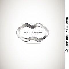 abstrakt, metal, sølv, logo