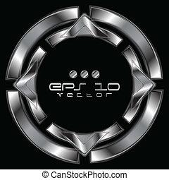 abstrakt, metallisk, facon, logo