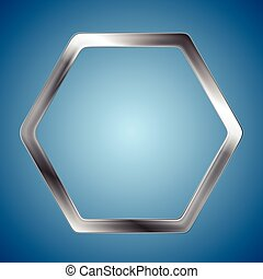 abstrakt, metallisk, sekskant, logo, baggrund