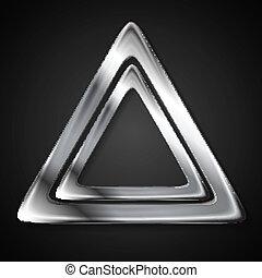 abstrakt, metallisk, trekant, logo