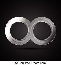 abstrakt, metallisk, uendelighed, tegn, logo