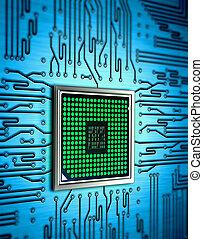 abstrakt, mikrochip