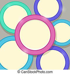 abstrakt, modern, glänzend, karte, schablone, mit, bunte, ringe