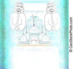 abstrakt, moslem, -, beten, religiöses, karte, mann